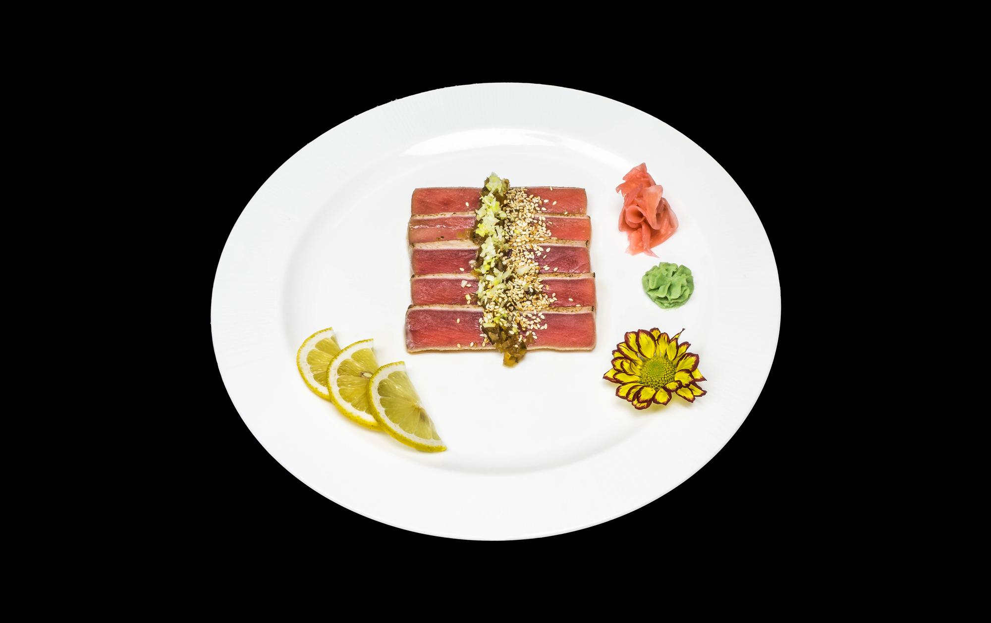 maguro tataki - 25 zł plastry opiekanego tuńczyka
