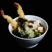 udon tempura – 36zł / japoński bulion z makaronem oraz krewetkami i warzywami w cieście tempura