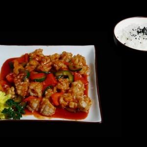 ogino bokum - 40z / kalmary w ostrym sosie podawane z warzywami