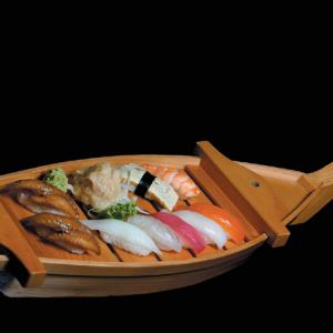 onaka unagi - 65 zł nigiri - 2 x węgorz, 1 x dorada, 1 x łosoś, 1 x tuńczyk, 1 x ryba maślana, 1 x krewetka, 1 x kalmar, 1 x omlet