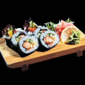 sake crunchy futomaki - 30 zł maki sushi ze smażonym, panierowanym łososiem, ogórkiem, sałątą i oshinko, 6 szt.